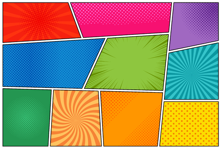 Comic book page template with radial halftone effects and rays in pop-art style. Colorful empty background.