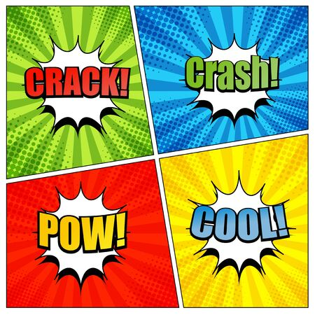 radial cracks: Comic book page template with colorful crack crash pow and cool wording. Background with radial and halftone effects in pop-art style.