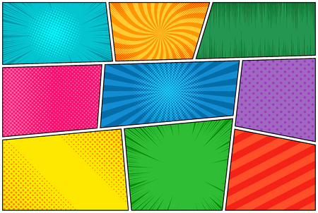 Comic book page template of colorful frames divided by lines with rays, radial, halftone, and dotted effects in pop art style. Vector illustration Ilustração Vetorial