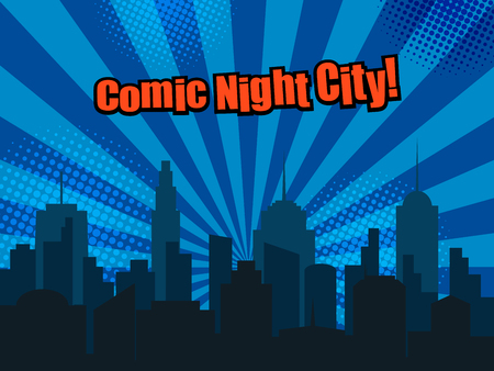 Colorful comic page template with night city silhouette, red inscription and halftone effects on blue radial background in pop art style. Vector illustration