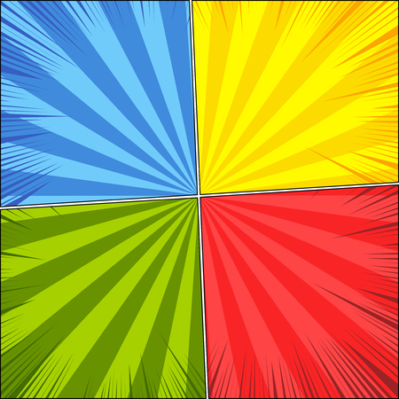 Comic book page blank background with rays and effects in red, green, yellow, blue colors. Vector illustration