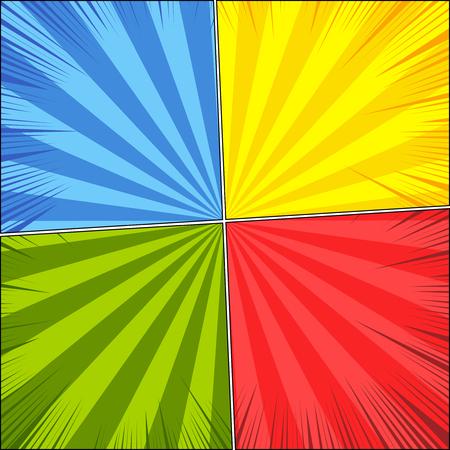Fondo de la página en blanco del cómic con los rayos y los efectos en colores rojos, verdes, amarillos, azules. Ilustración del vector