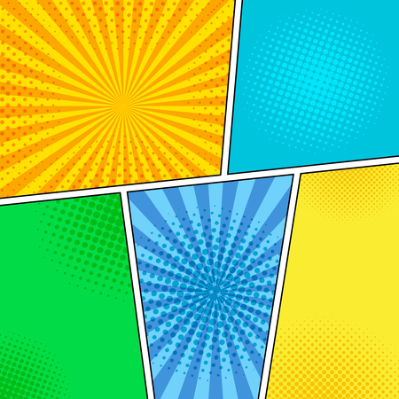 Comic book page light composition with radial and halftone effects in bright colors. Pop art style. Vector illustration