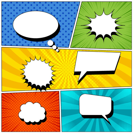 Comic book page background with empty colorful speech bubbles in pop-art style. Rays, radial, halftone, dotted effects. Vector illustration
