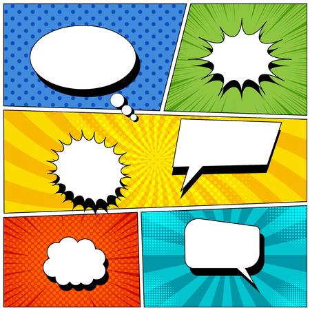 Pagina di sfondo del libro fumetto con bolle di discorso colorate vuote in stile pop-art. Raggi, radiali, mezzitoni, effetti punteggiati. Illustrazione vettoriale