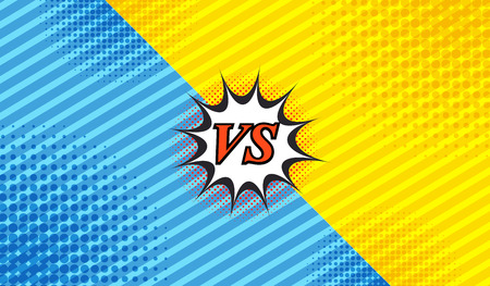Comic duel background with two opposite sides slanted lines and halftone effects in blue and yellow colors. Vector illustration Çizim