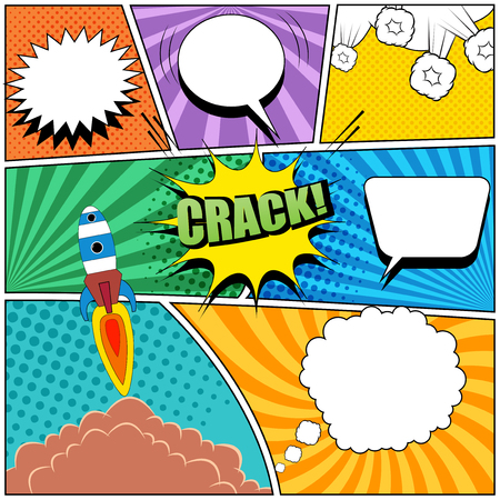 Comic book page bright background with speech bubbles, rocket launch, radial, halftone and dotted effects in pop art style. Vector illustration