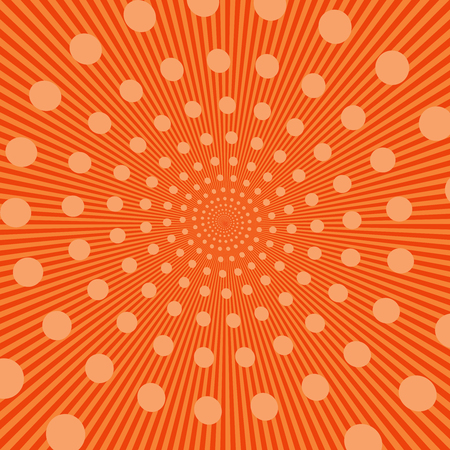 cartoon bomb: Comic bright orange template with circles in spiral form on radial background. Vector illustration