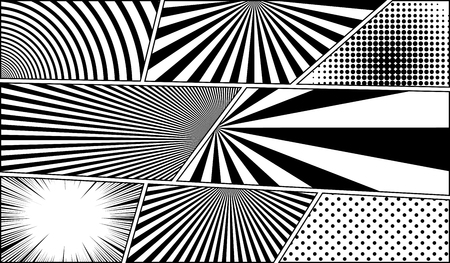 Comic book monochrome blank backgrounds set with different effects in black and white colors. Vector illustration Ilustração