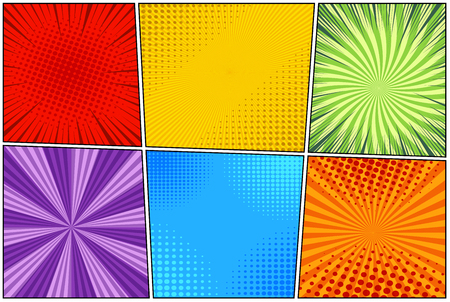 Comic book light template of six backgrounds with rays, radial, dotted and halftone effects in different colors. Vector illustration Stock Illustratie
