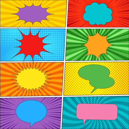 Comic backgrounds and speech bubbles collection with colorful clouds of different shapes and various effects. Vector illustration