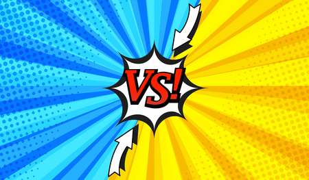 Comic versus horizontal illustration with two opposite sides, arrows, white speech bubble, radial and halftone effects in blue and yellow colors. Illustration