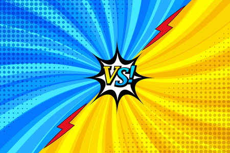 Cómic versus plantilla horizontal con dos caras de confrontación, relámpagos, bocadillo de diálogo. Logos