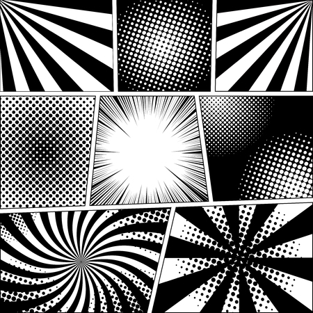 Comic book with radial, rays and halftone effects in black and white colors. Illustration