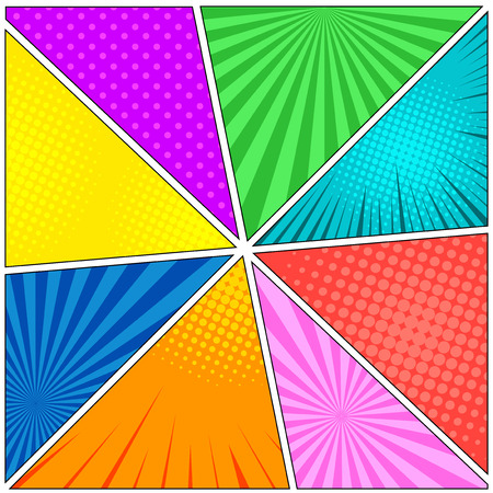 Comic book eight colorful backgrounds with rays, radial, dotted and halftone effects in different colors.