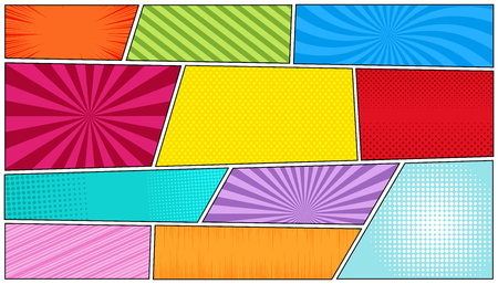 Comic bright horizontal background with radial, rays, dotted, sound waves, halftone, slanted lines in pop-art style. Vector illustration