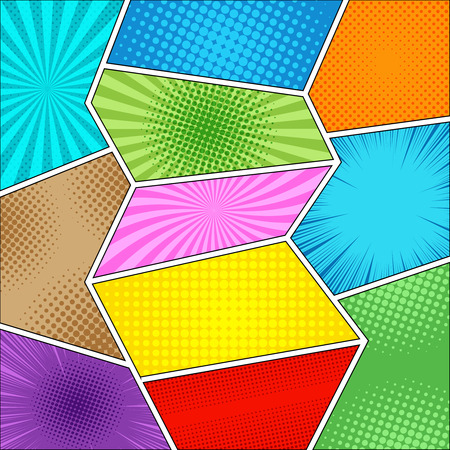 Comic book colorful background with rays, radial, dotted and halftone effects in different bright colors. Vector illustration