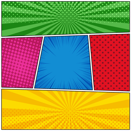 Comic book template with rays, radial, dotted and halftone effects in green blue red vinous orange colors.