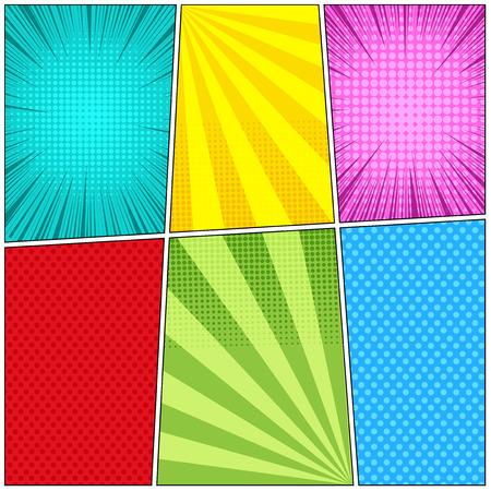 Fondo de cómic luz de seis plantillas con efectos de rayos, radial, punteado y semitono en colores azul turquesa verde amarillo rojo. Ilustración de vector