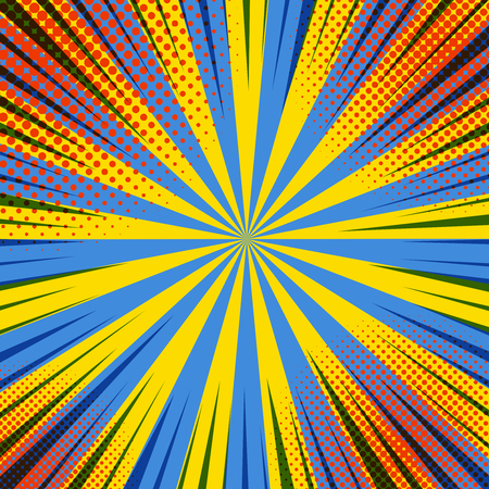 Comic colorful abstract template with black rays red halftone effects on yellow and blue radial background. Stock Illustratie