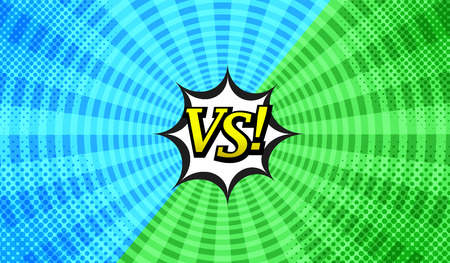 Comic versus bright concept with two opposite green and blue sides, speech bubble, halftone, radial and round effects. Illustration