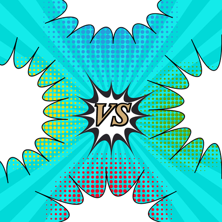Comic fight template with four speech bubbles on turquoise radial background.