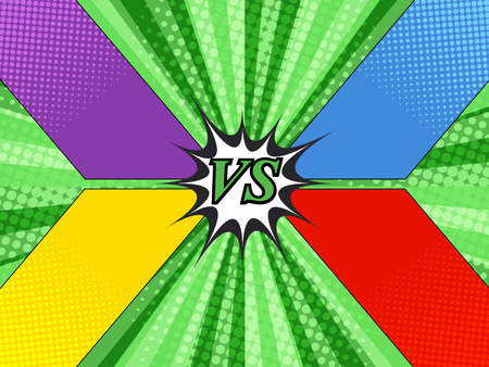 Comic versus template with four colorful frames for different opponents on green radial and halftone background.