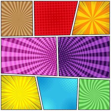 Comic book page background of colorful templates with halftone round rays radial effects in bright colors.