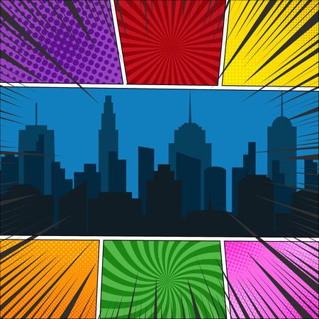 Comic book paginasjabloon met nacht stadsgezicht, radiaal, stralen en halftone effecten in verschillende kleuren.