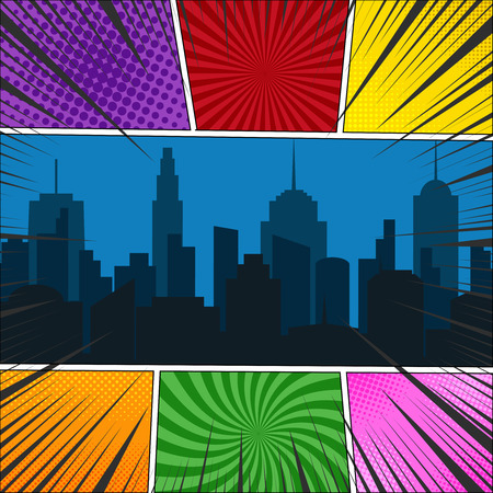 Comic book page template with night cityscape, radial, rays and halftone effects in different colors.