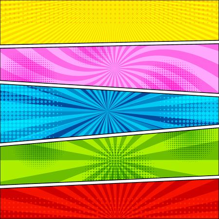 Fondo de cómic con medios tonos y efectos radiales en amarillo, azul, verde, verde y rojo en estilo pop-art. Plantilla en blanco. Ilustración vectorial Ilustración de vector