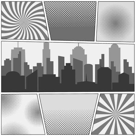 Comic book page monochrome background with cityscape, radial, dotted and halftone effects in gray colors. Pop-art style. Vector illustration.