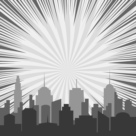 Monochrome comic background with city silhouette rays and twisted radial background in gray colors in pop art style. Vector illustration