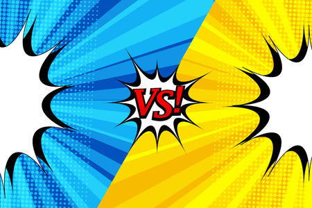 Comic duel bright template with two opposite blue and yellow sides, blank speech bubbles, halftone effects on radial backgrounds.