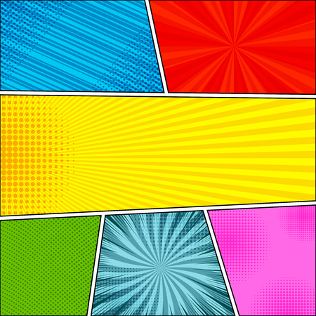 Comic book colorful composition with halftone rays radial slanted lines and dotted humor effects in different colors in pop-art style. Blank template. Vector illustration