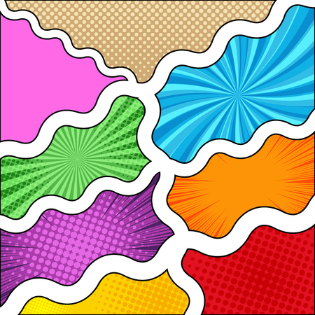 Comic book composition with wavy dividing lines halftone radial rays humor effects in yellow brown purple orange pink blue green red colors in pop-art style. Blank template. Vector illustration