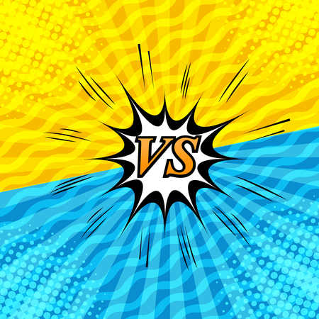 Comic rivalry and dueling background with two opposite yellow and blue sides, speech bubble, sound, halftone, radial, waves humor effects. Vector illustration