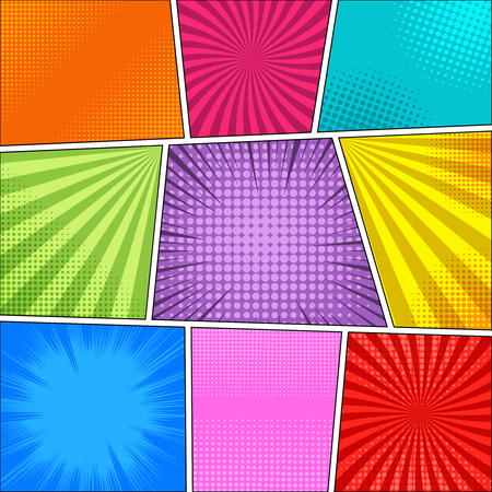 Comic book bright blank composition with different humor effects in various colors. Vector illustration