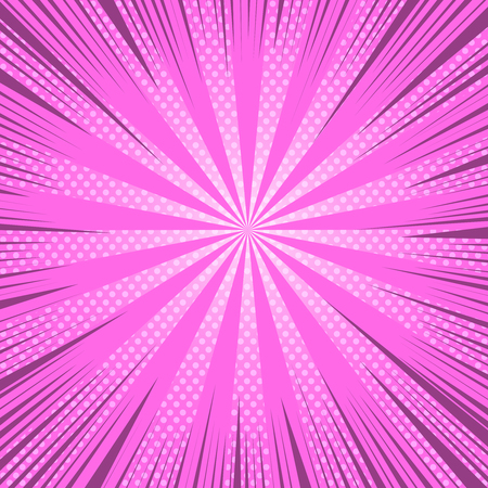 Comic book page bright pink background with light halftone rays and radial humor effects. Vector illustration Illustration