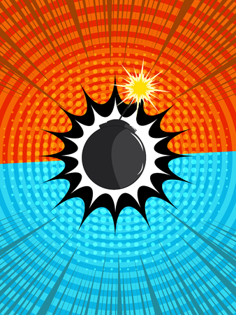 Comic fighting background with two opposite orange and blue sides, explosive bomb, halftone, circles, rays humor effects. Vector illustration