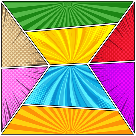 Comic book composition with halftone rays and radial effects in pop-art style. Vector illustration Illustration