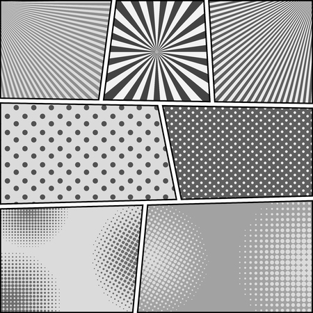 Comic book background with radial and halftone humor effects in gray colors. Pop-art style. Vector illustration