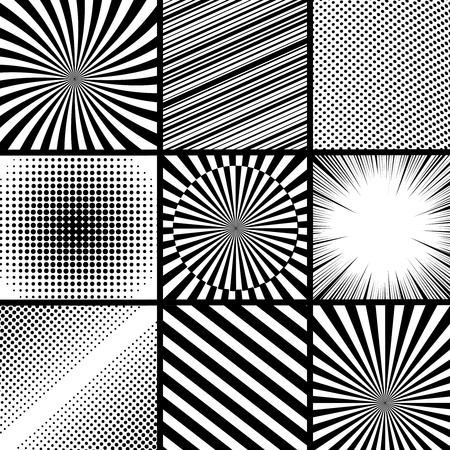 Comic book monochrome template with dotted rays halftone radial slanted lines humor effects in black and white colors. Pop-art style. Vector illustration