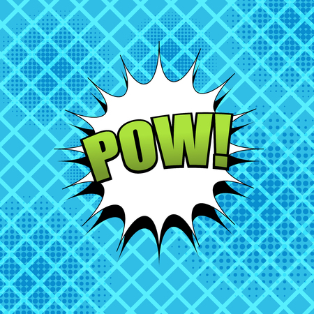 Comic Pow wording template with green inscription, white speech bubble, halftone effects on blue grid background. Vector illustration