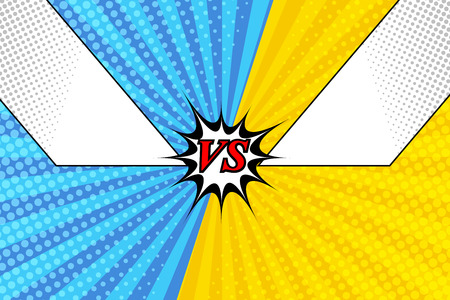 Comic versus bright background with two blank frames for text blue and yellow sides, halftone and radial effects. Vector illustration Illustration
