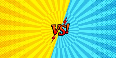 Comic versus horizontaler Hintergrund mit zwei gegenüberliegenden gelben und blauen Seiten, Halbton- und Radialeffekten. Vektor-illustration Vektorgrafik