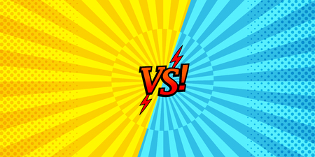 Comic versus horizontal background with two opposite yellow and blue sides, halftone and radial effects. Vector illustration