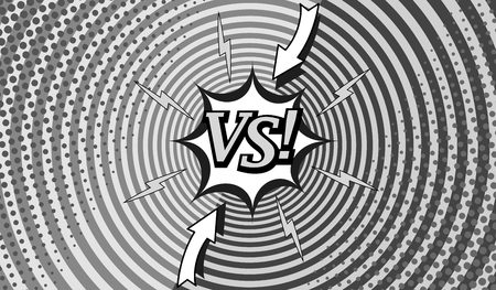 Comic fighting monochrome horizontal background with two opposite sides, lightnings, arrows, halftone and round effects in gray colors. Vector illustration Illustration