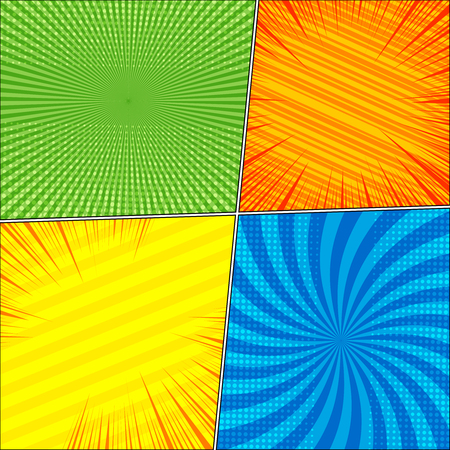 Comic book colorful template with four scenes radial slanted lines rays and halftone humor effects in green orange yellow blue colors in pop-art style.