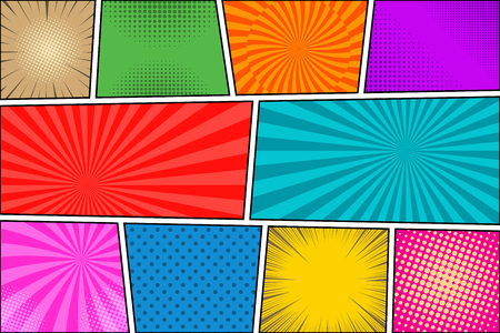 Comic book colorful background with radial rays dotted halftone effects. Vector illustration Stock Illustratie